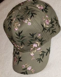 Floral Olive Green Snap back